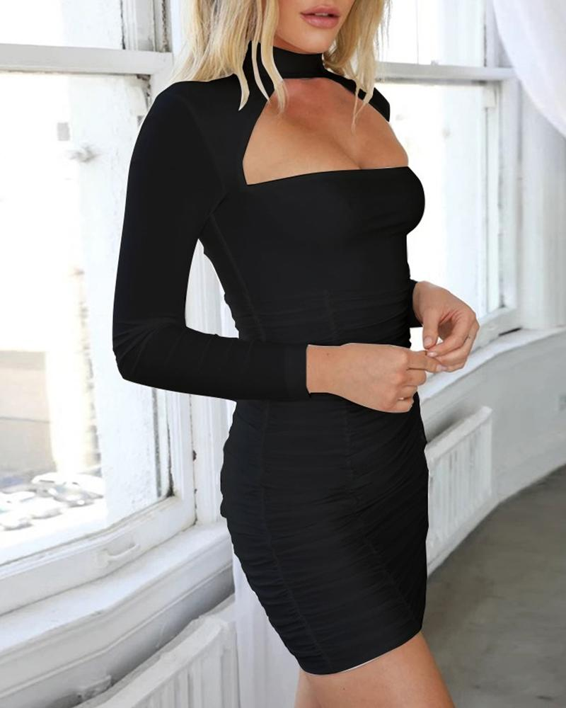 Solid Slash Neck Ruched Bodycon Dress