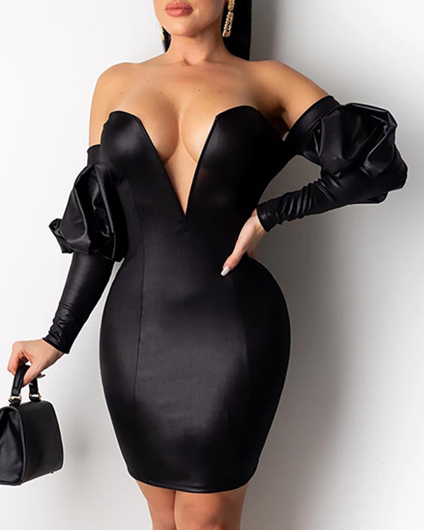 Leather Puffed Sleeve Off Shoulder Bodycon Dress