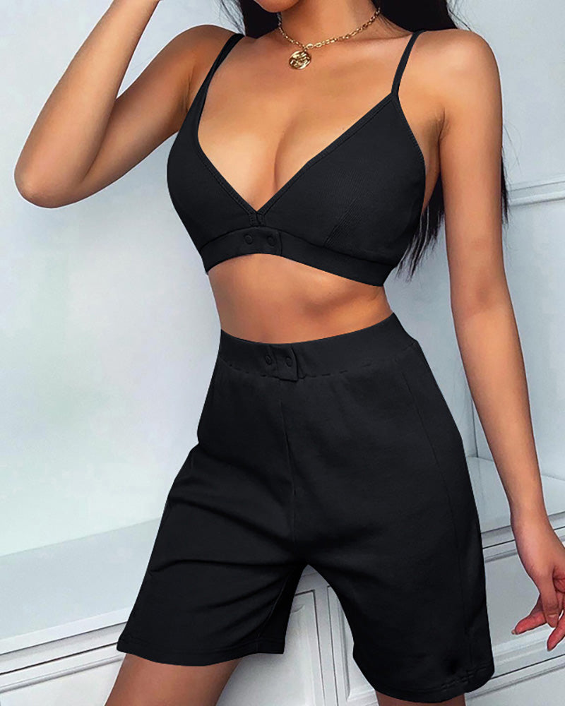 Solid Spaghetti Strap Crop Top & Shorts Set