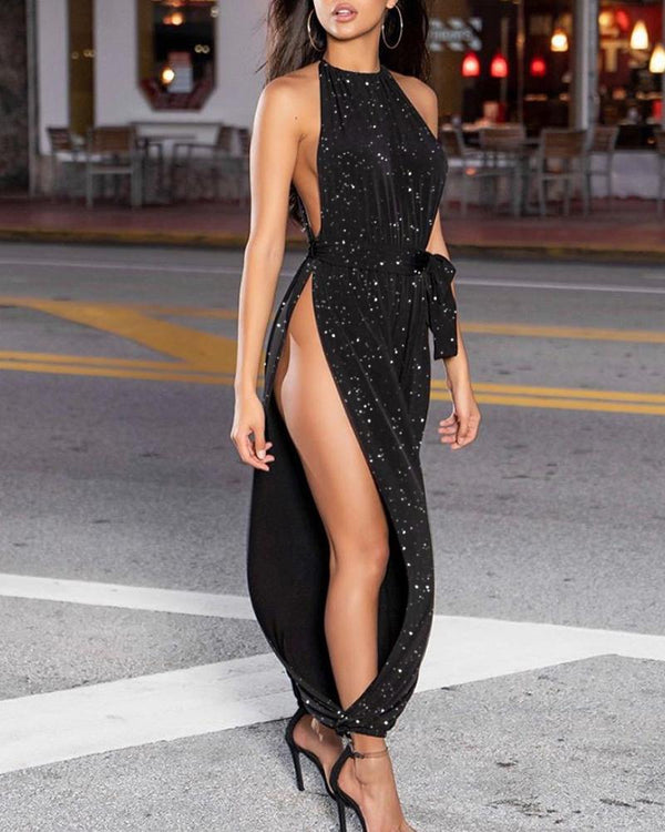 Glitter Sleeveless Ruched Slit Leg Jumpsuit