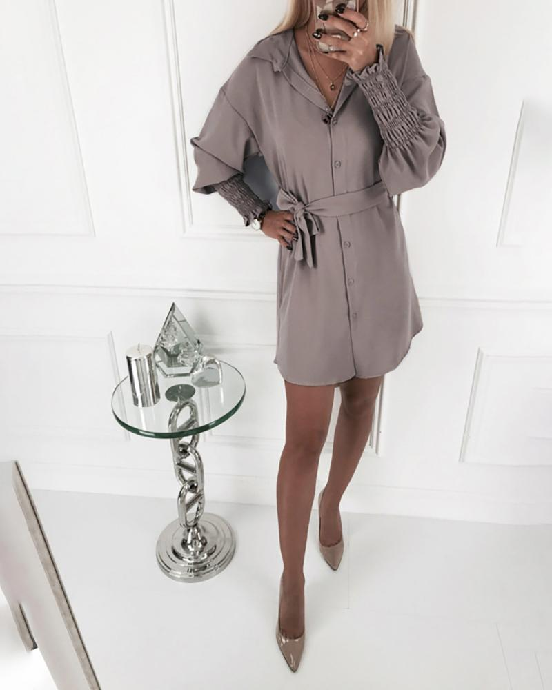 Solid Turn-down Collar Shirring Cuff Frill Shirt Dress