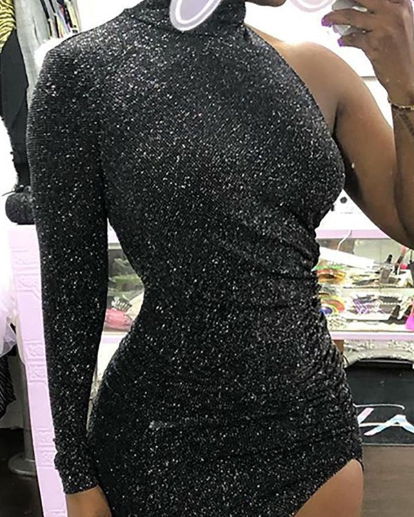 Sequins One Shoulder Slit Bodycon Dress