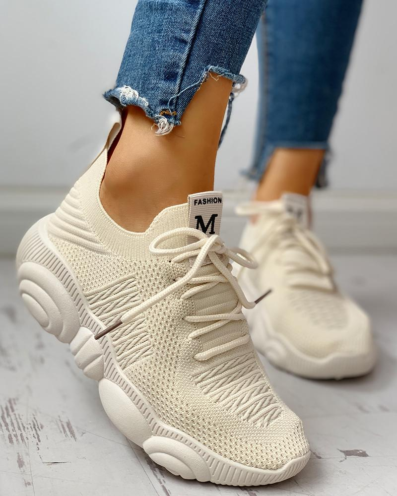 Knitted Breathable Lace-Up Yeezy Sneakers