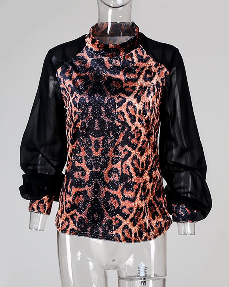 Leopard Mesh Long Sleeve Casual Blouse