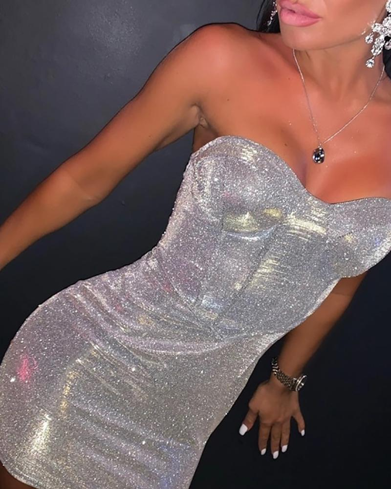 Glitter Tube Sleeveless Bodycon Dress