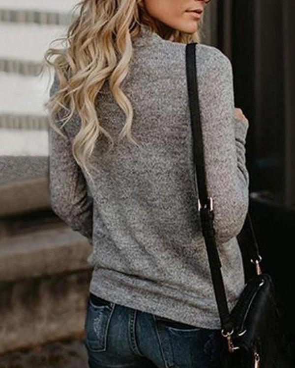 Solid Deep V Neck Sweater