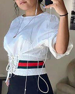 Round Neck Eyelet Lace-up Lantern Sleeve Striped Crop Blouse