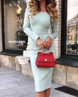 High Waist Long Sleeve Midi Dress
