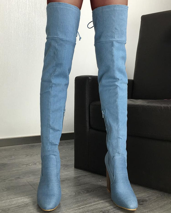 Knee-High Side Zipper Chunky Heeled Boots