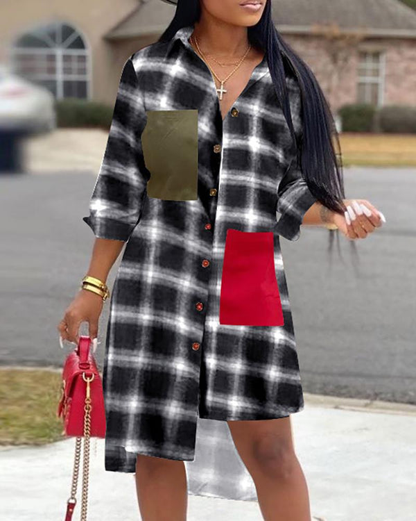 Grid Irregular Design Shirt Dress