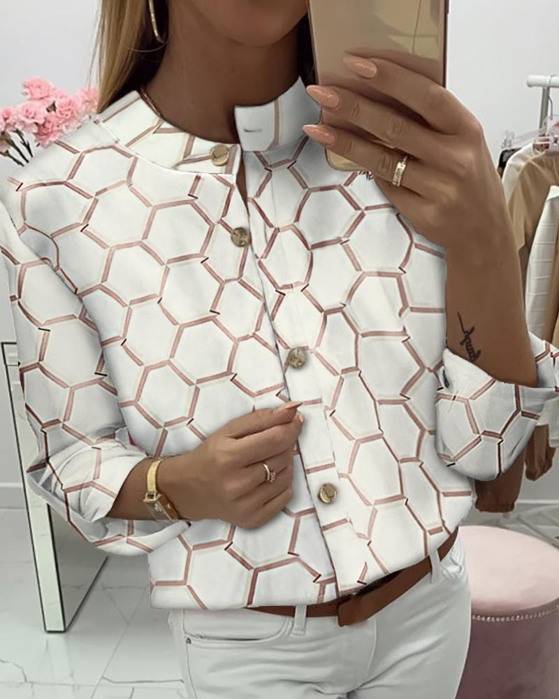 Print Long Sleeve Buttoned Casual Shirt 16