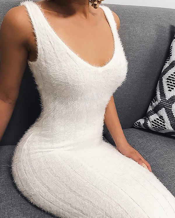 Solid Thin Strap Ribbed Fluffy Bodycon Dress
