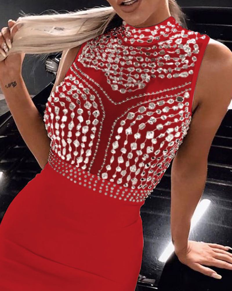 Diamante Trim Design Bodycon Dress