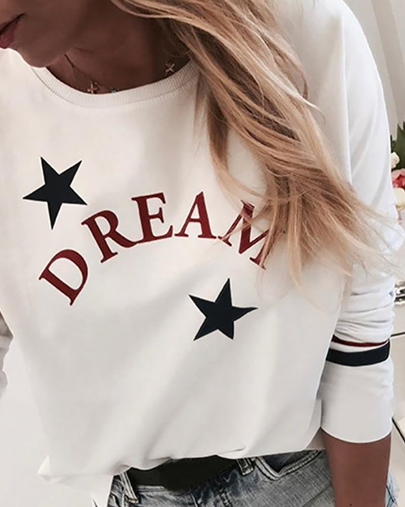 Star Letter Print Round Neck Casual Sweatshirt