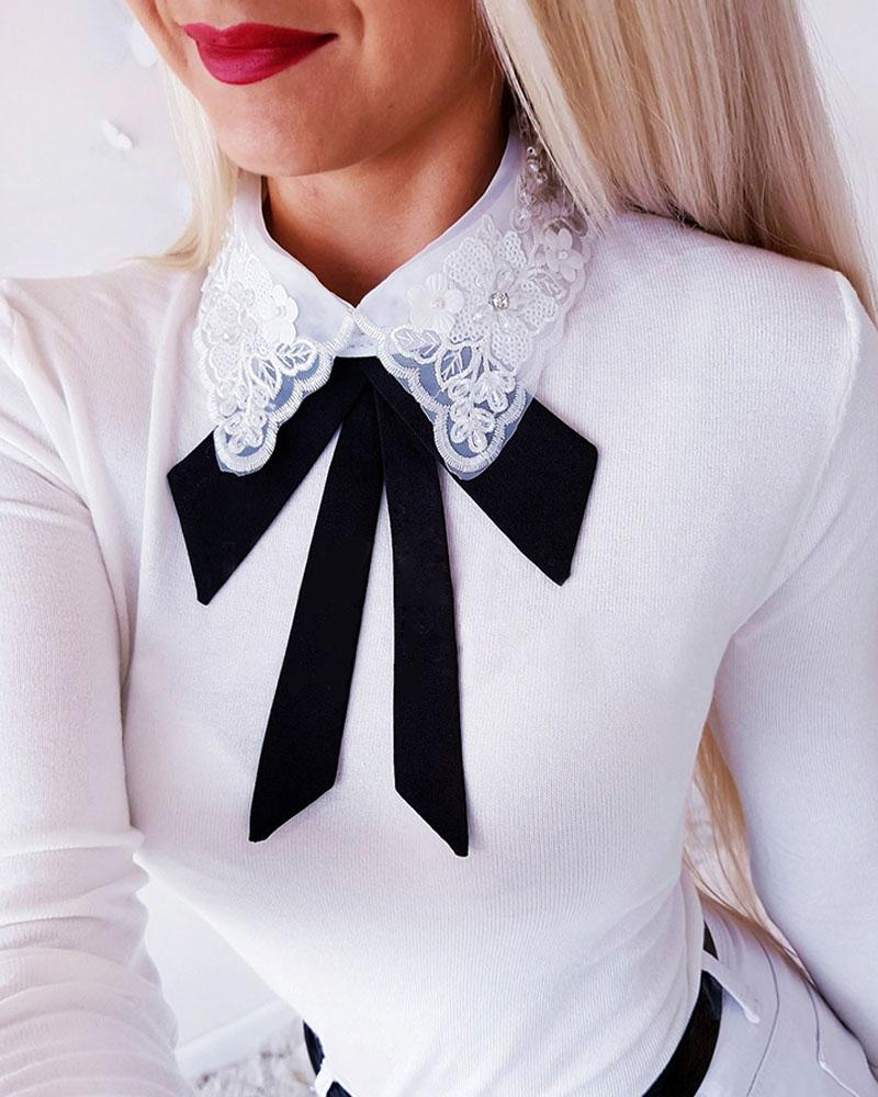 Crochet Lace Insert Bowknot Long Sleeve Blouse