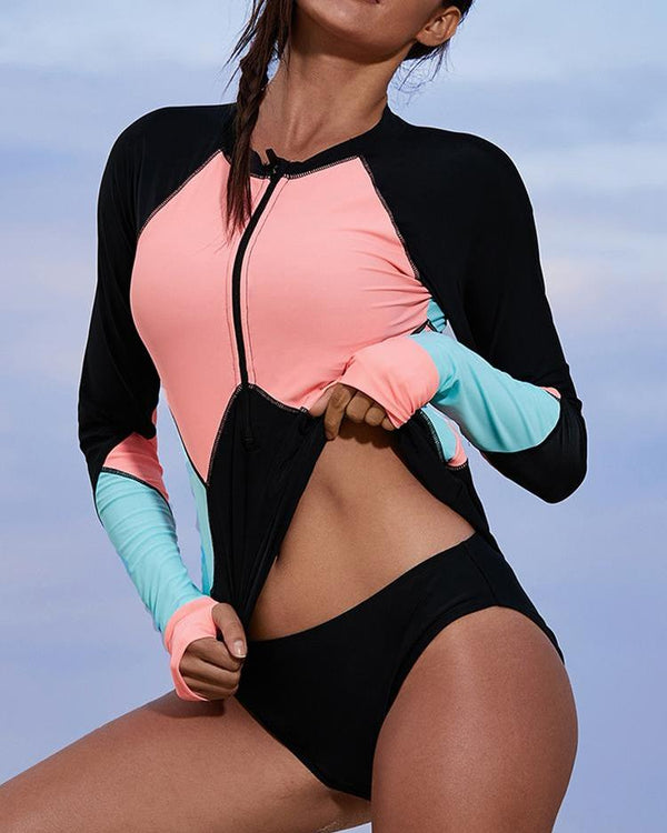 Long Sleeve Colorblock Zipper Rashguard Top