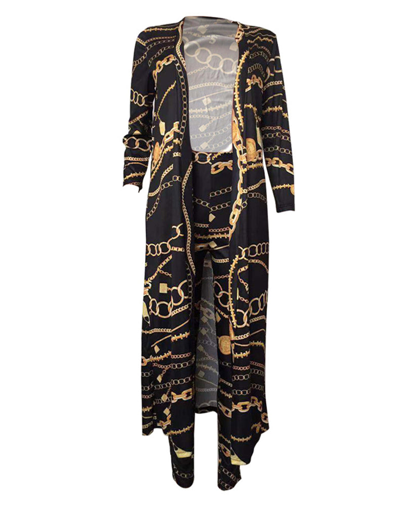 Print Longline Cardigan Coat & Pant Sets