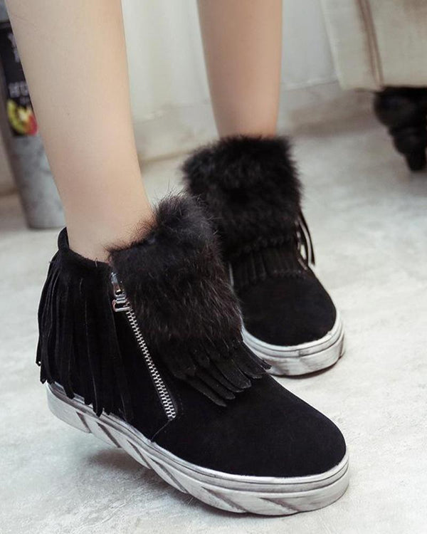 Faux Fur Zipper Ankle Boots