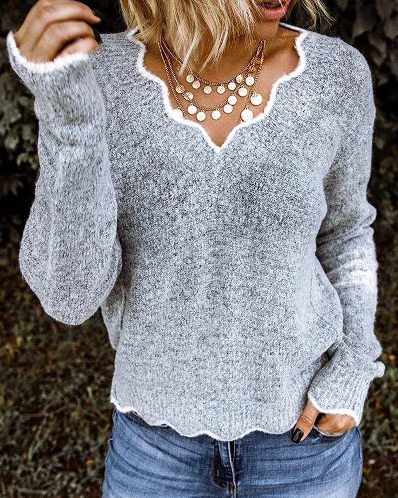 Contrast Binding Long Sleeve Knitting Sweater