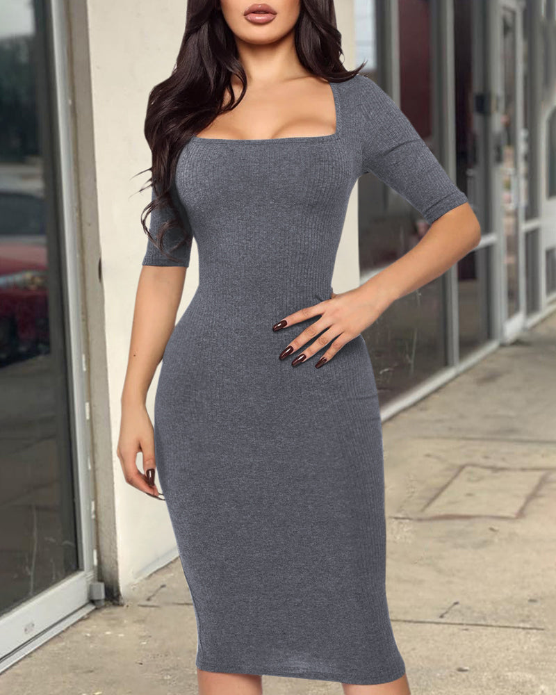 Solid Square Neck Half Sleeve Bodycon Dress