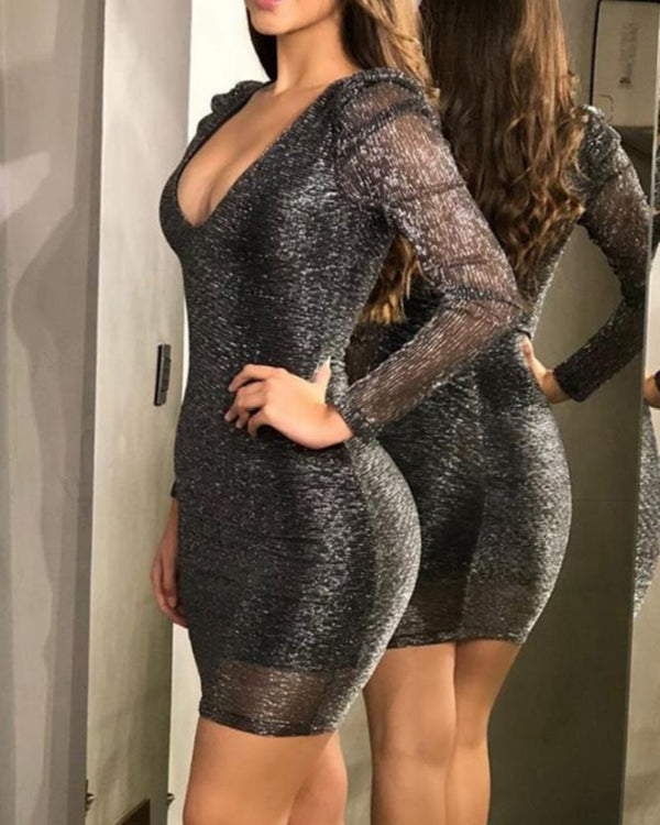 Deep V Glitter Bodycon Dress