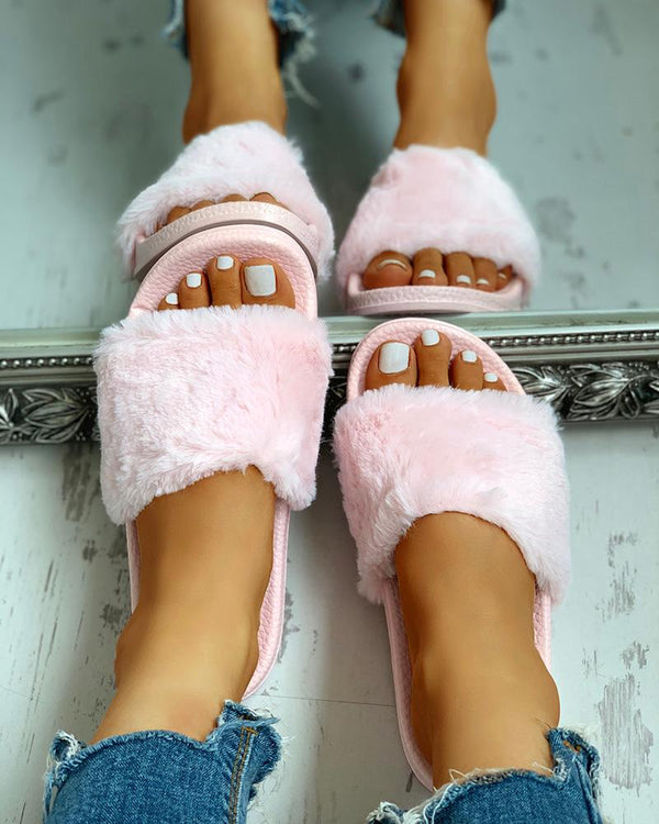 Open Toe Fluffy Flat Sandals