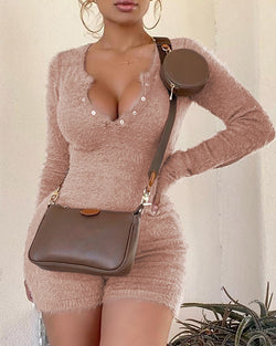Solid Fluffy Long Sleeve Romper