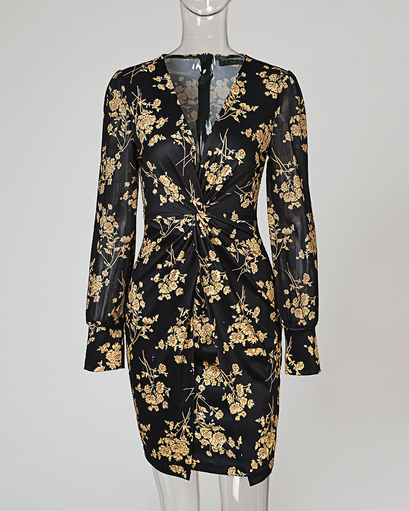 Puffed Sleeve Floral Print Twisted Dress