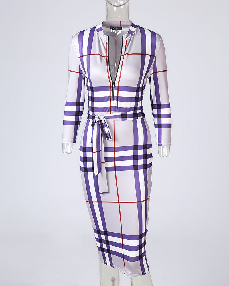Plaid Zipper Design Long Sleeve Midi Dress
