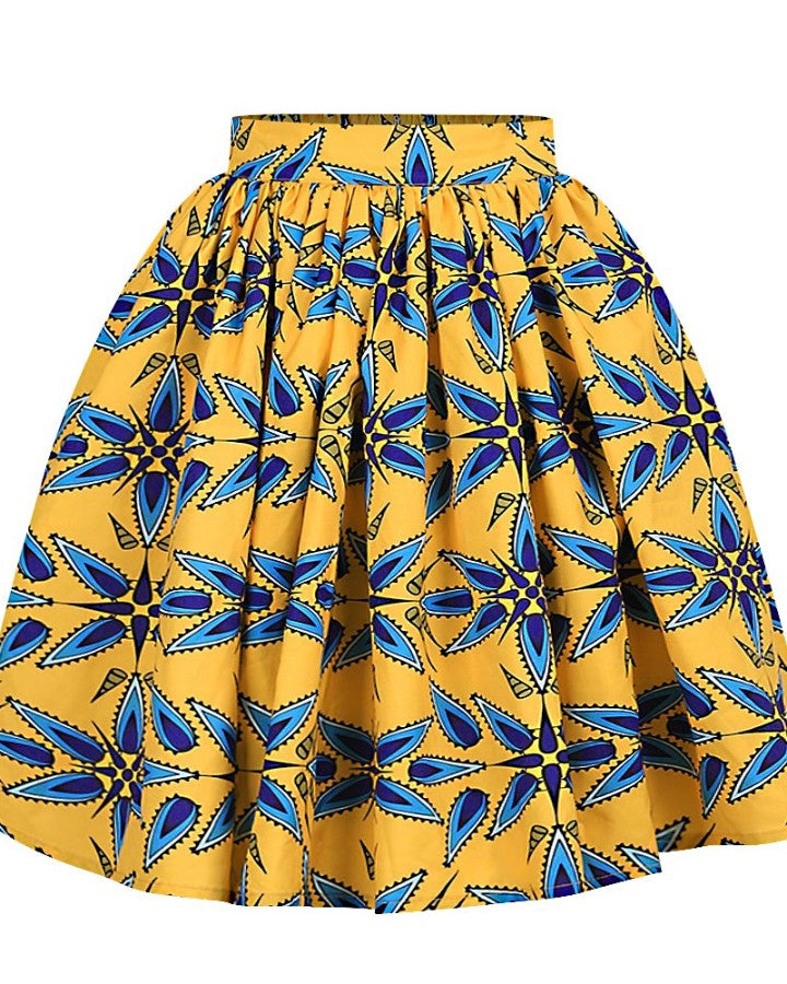 Print Tight Waist Pleated Mini Skirt