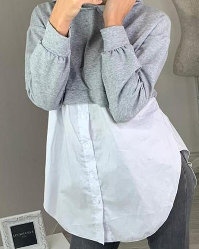 Two-Tone Button-Up  Hoodie
