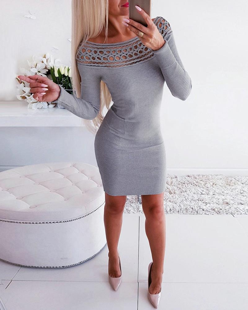 Hollow Out Ribbed Long Sleeve Bodycon Dress