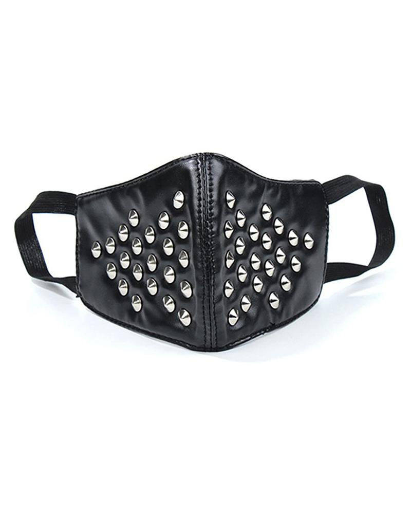 Small Spike Punk Leather Breathable Motorcycle Biker Face Mask