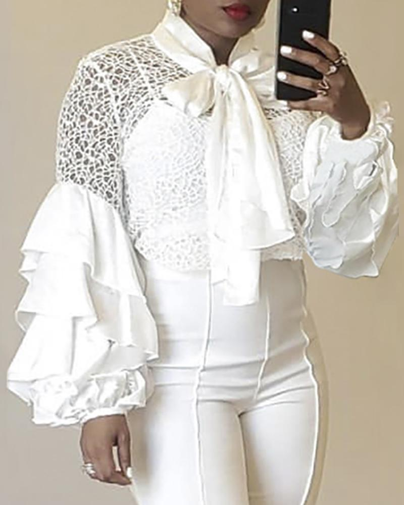 Mesh Ruffled Sleeve Tied Neck Blouse
