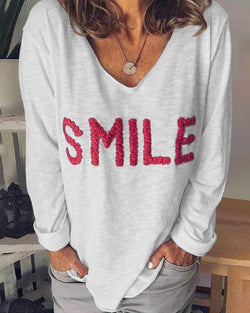V-Neck Long Sleeve Letter Embroidery T-shirt