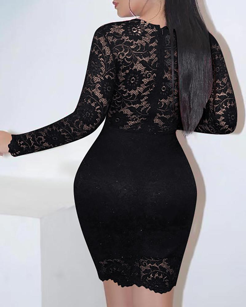 Sheer Mesh Lace Bodycon Dress