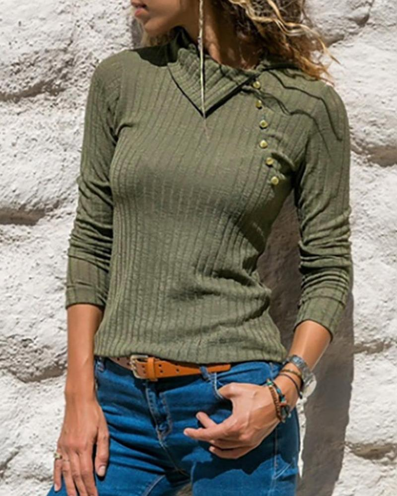 Ribbed Long Sleeve Casual Top