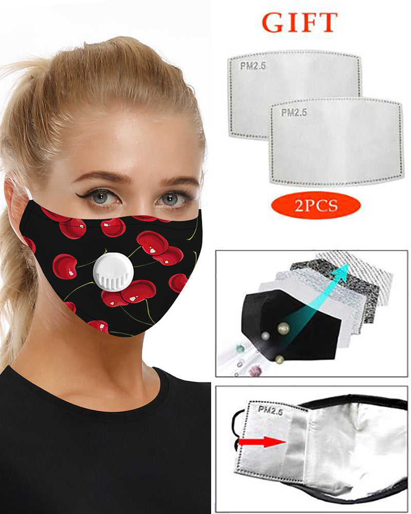 Cherry Print Breathing Washable Valve Face Mask (2 filters as gift)