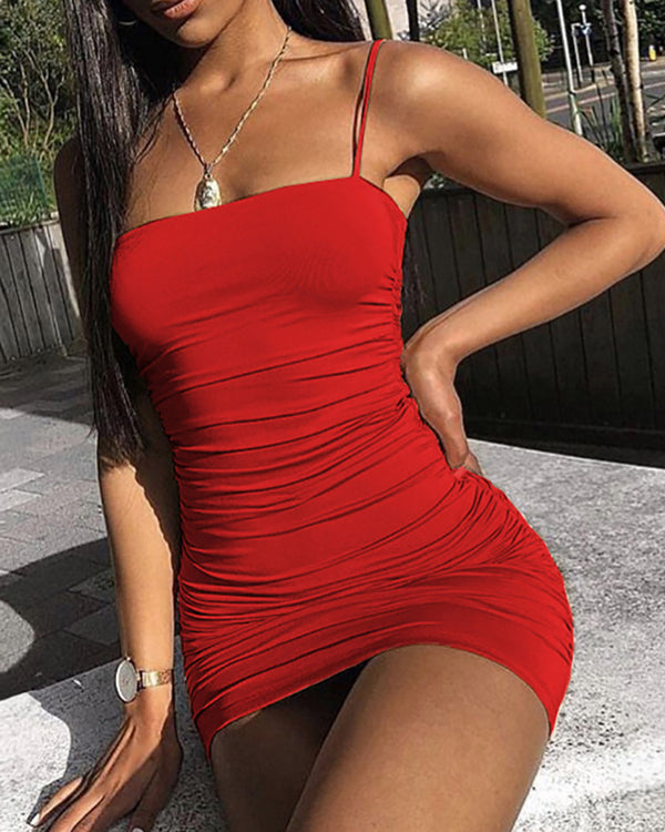 Spaghetti Strap Scrunched Bodycon Mini Dress