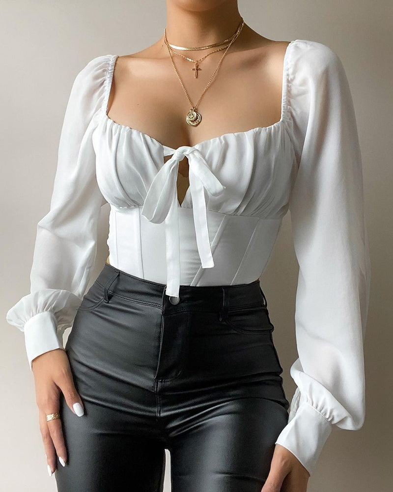 Lantern Sleeve Tie Front Ruched Top