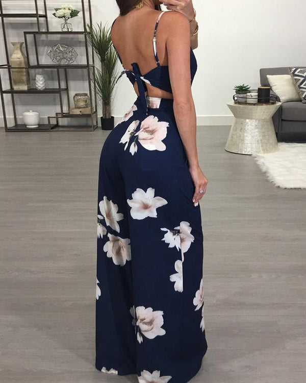 Floral Spaghetti Strap Wide Leg Jumpsuit