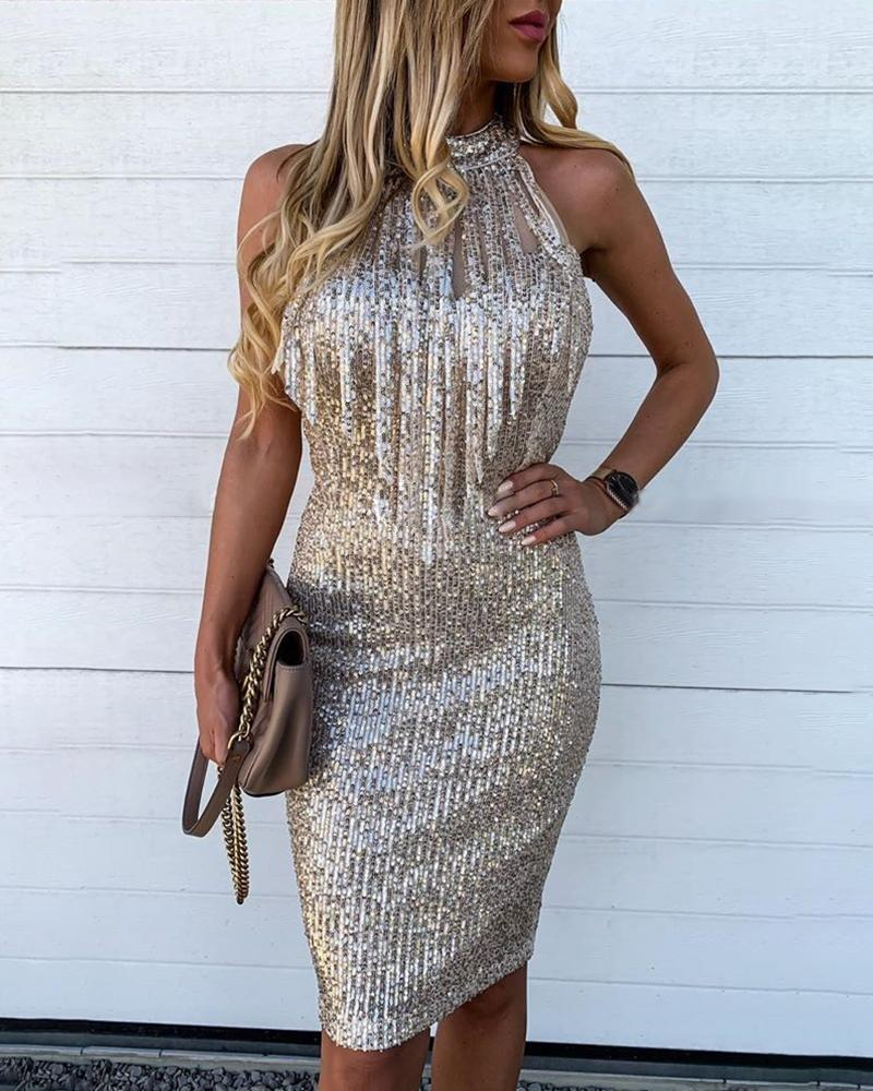 Sequins Sleeveless Tassel Design Bodycon Dress
