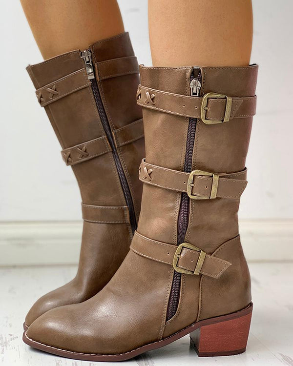 Solid PU Buckled Zipped Chunky Heeled Boots