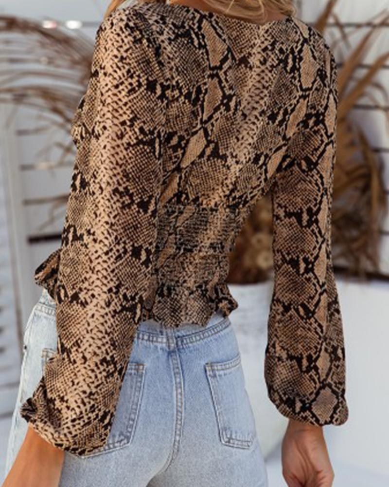 Snakeskin Square Neck Casual Blouse