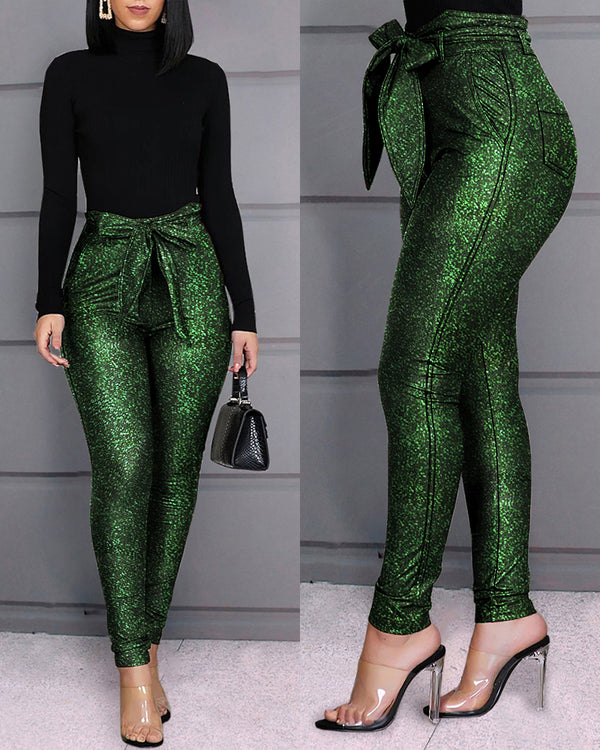High Waist Belted Glittering Pants