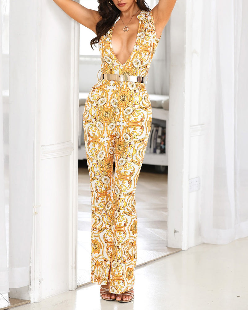 Plunge Print Sleeveless Wide Leg Jumpsuit