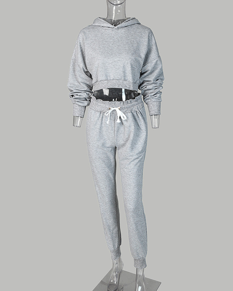 Solid Hooded Long Sleeve Drawstring Top & Pants Set