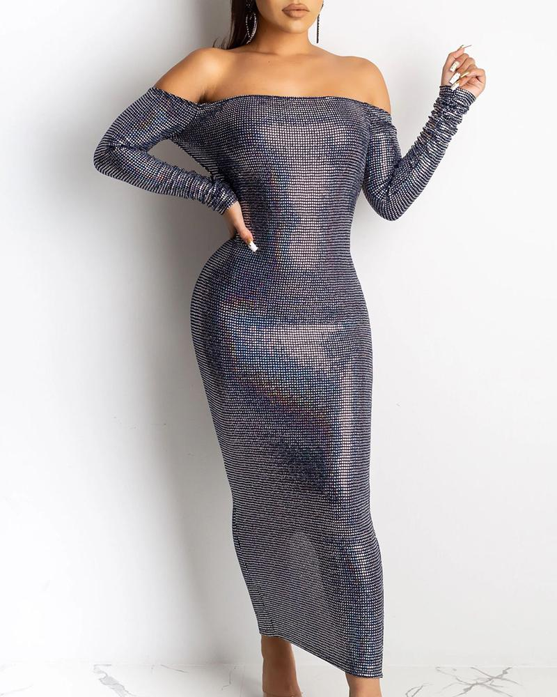 Glitter Off Shoulder Backless Long Sleeve Dress