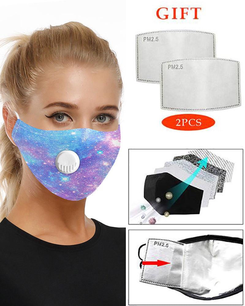 Galaxy Print Breathing Washable Valve Face Mask (2 filters as gift) Without Cord Lock Toggles