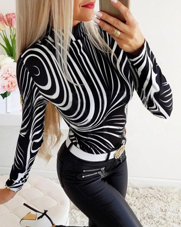 Striped Stand Collar Top